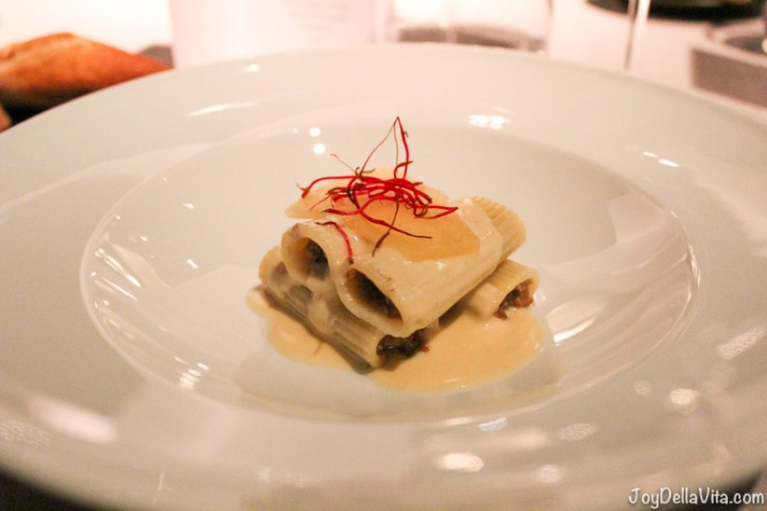 Rigatoni with mushroom and chanterelle stuffing on truffle sauce