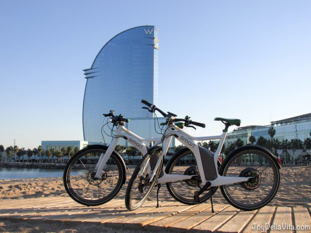 smart eBike in front of the W Hotel Barcelona