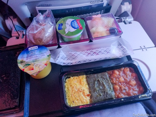 Qatar Airways Ovo Lacto Vegetarian Meal for Breakfast (honestly, I did not eat the hot part...)