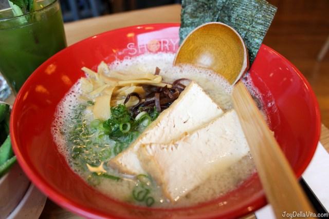 White Natural Ramen (v) £11.50 (gf): tonyu soy milk, miso, konbu & shiitake broth, atsuage fried tofu, kikurage mushrooms, spring onion, menma bamboo shoots, nori seaweed