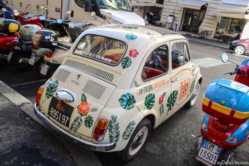 vintage electric Fiat 500 Vespa small Cars Rome joyDellaVita