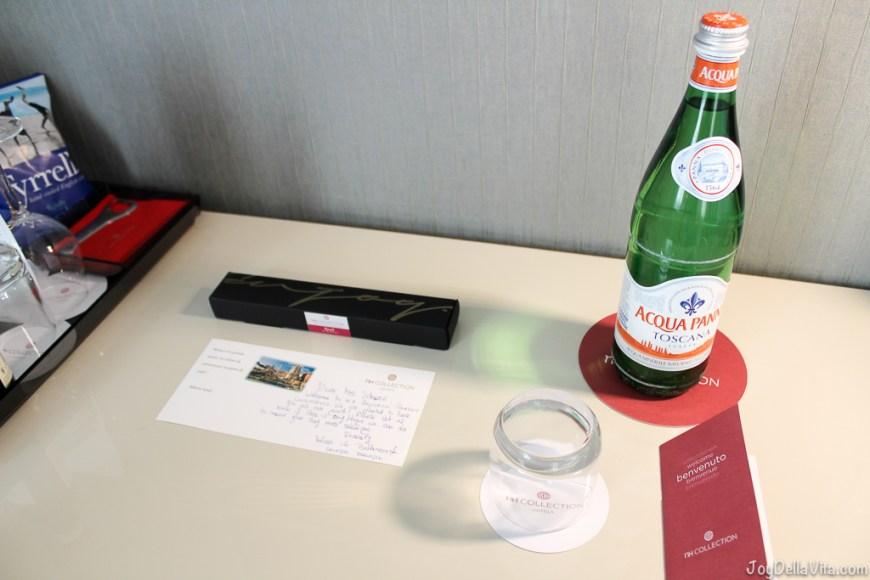 complimentary sweets and Aqua Panna Water nh Collection Hotel Cinquecento Rome JoyDellaVita