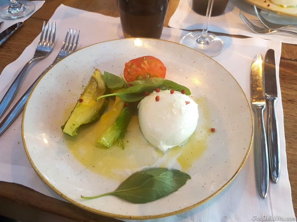 Buffalo Mozzarella Salad with Avocado and Lime Vinaigrette Bestial Restaurant Club Barcelona Beach -  JoyDellaVita.com