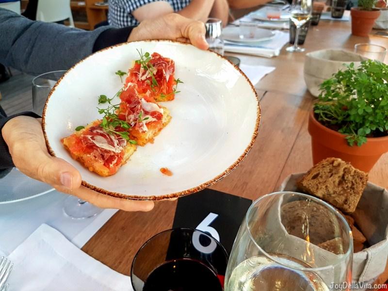 Acorn-fed Iberian ham, flatbread with tomato -  Bestial Restaurant Club Barcelona Beach -  JoyDellaVita.com