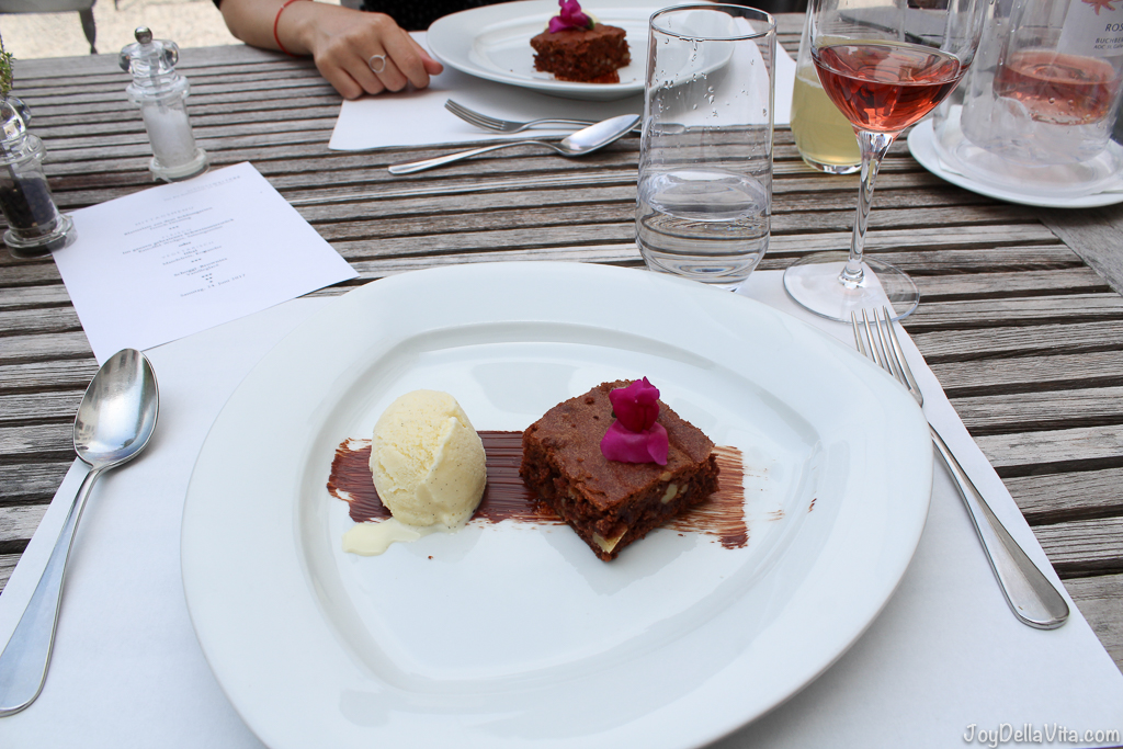 Chocolate brownie with vanilla ice cream -- Organic Restaurant Castle Wartegg Rorschacherberg - JoyDellaVita.com