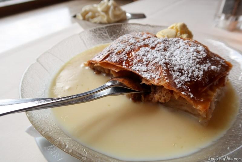 Apfelstrudel with vanilla sauce, vanilla ice-cream, fresh whipped cream - Apfelstrudel Restaurant Schönblick Eichenberg Bregenz