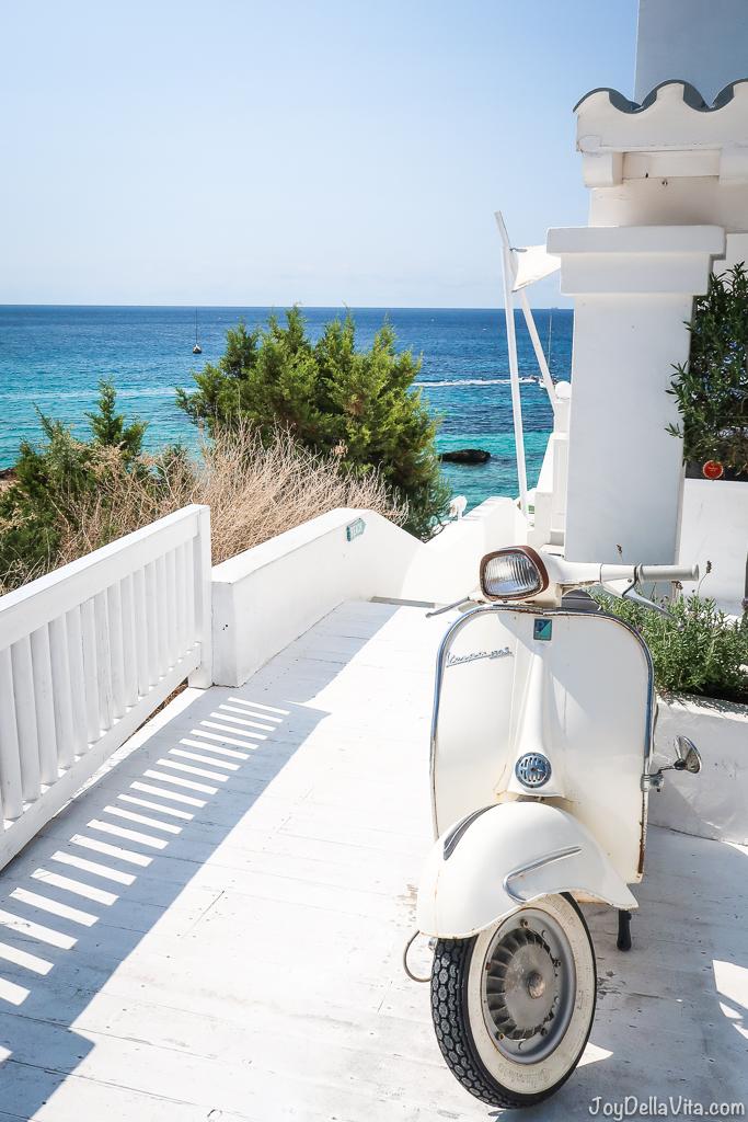 ibiza beach club white vespa blue sky holiday vacation