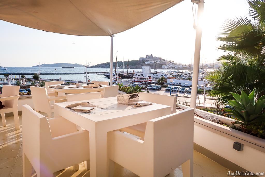Sunset view from Restaurant Rocamar Ibiza Marina Botafoch Talamanca