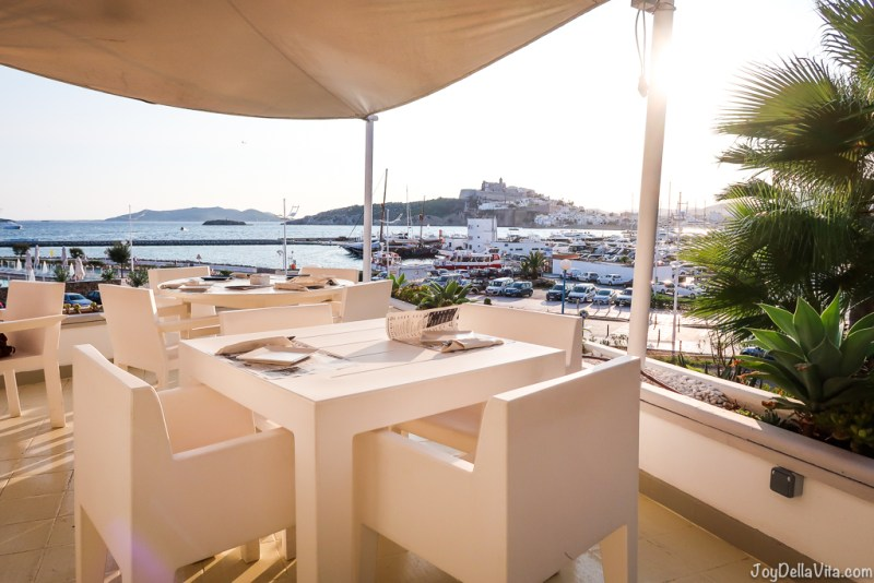 Sunset view from Restaurant Rocamar Ibiza Marina Botafoch Talamanca