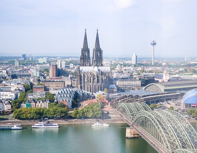 Best view in Cologne from KölnTriangle panorama viewing platform in Köln-Deutz