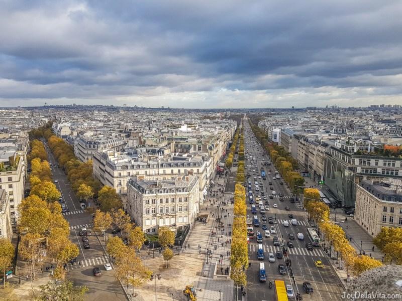 View from Arc de Triomphe Paris at Place Charles de Gaulle
