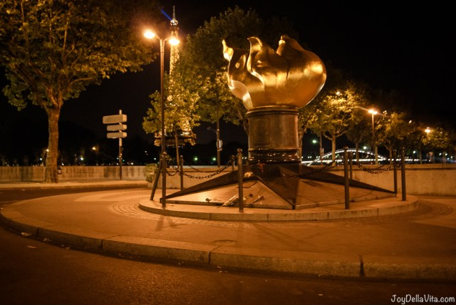 Flame of Liberty Lady Diana Memorial Paris Pont de l'Alma with the Seine and Eiffel Tower in the background - joydellavita