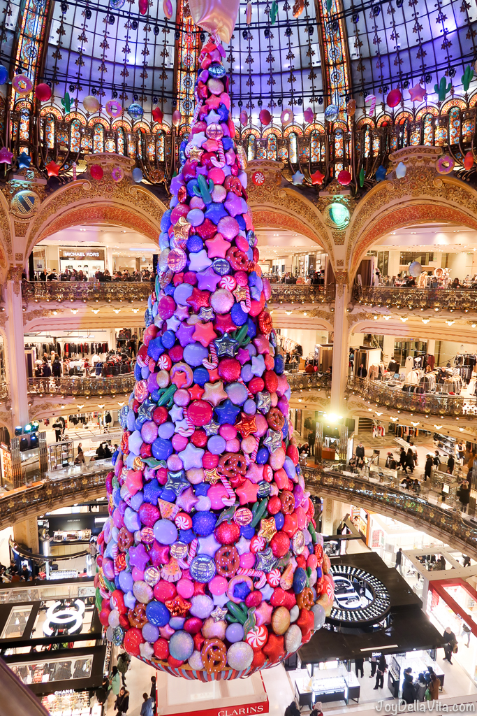 Christmas Tree at Galeries Lafayette in Paris and christmas decorations