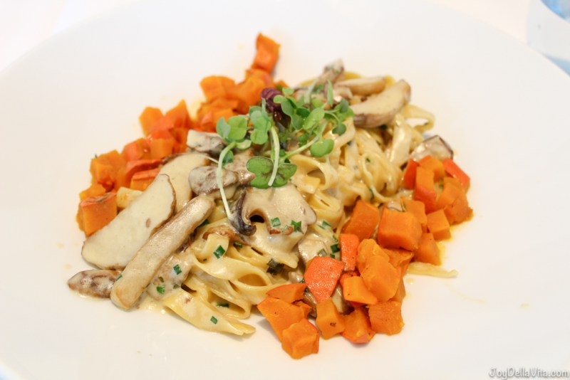 Homemade tagliatelle with sauteed yellow boletus in herb cream & caramelized chilli pumpkin 20,90€ - Salon JB Messmer Dorint Maison Messmer Hotel Baden-Baden