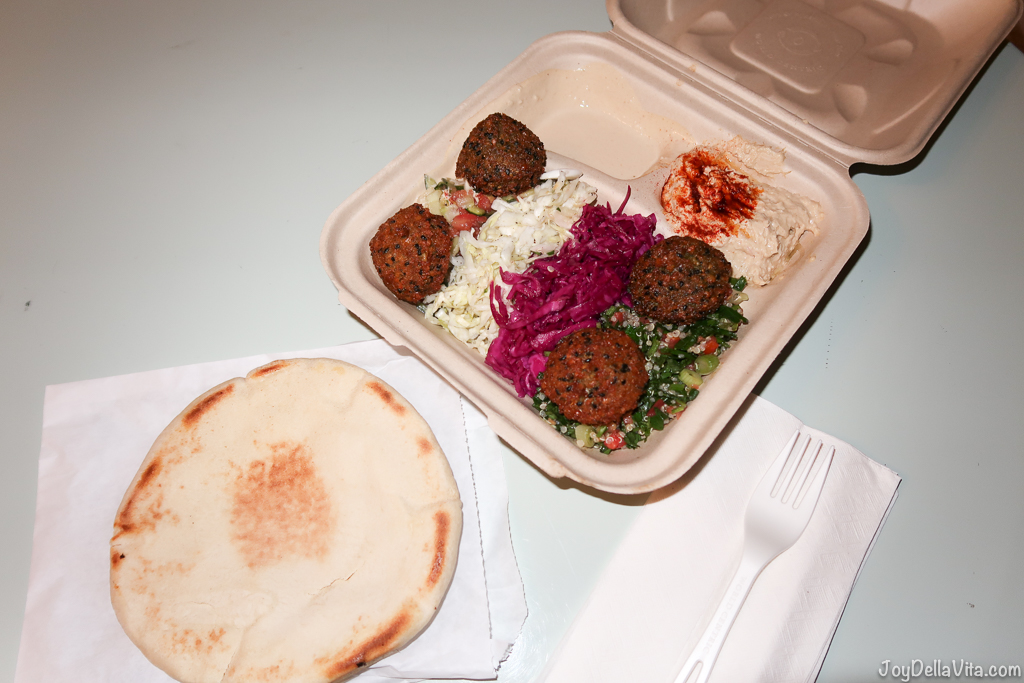 Falafel Plate by Fala Bar West Hollywood - 4 falafels, hummus, tahini, Israeli salad, quinoa tabouli, white and purple cabbage