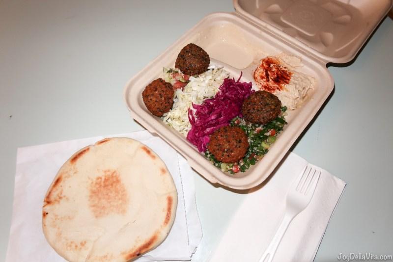 Falafel Plate by Fala Bar West Hollywood - 4 falafels, hummus, tahini, Israeli salad, quinoa tabouli, white and purple cabbage