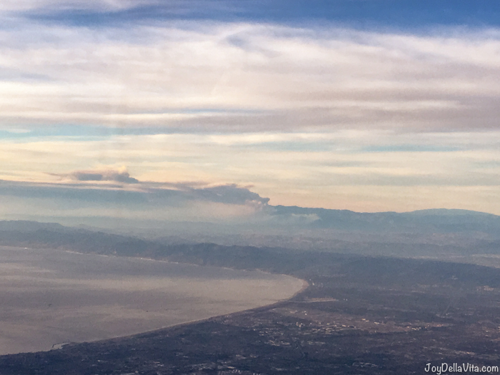 Wildfires near Los Angeles as seen from my plane, departing from LAX