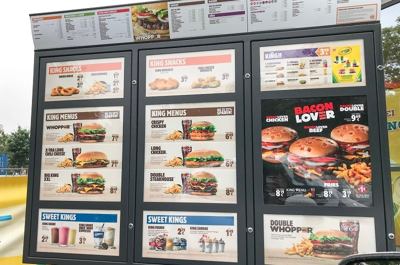 Burger King Germany Price list / Menu