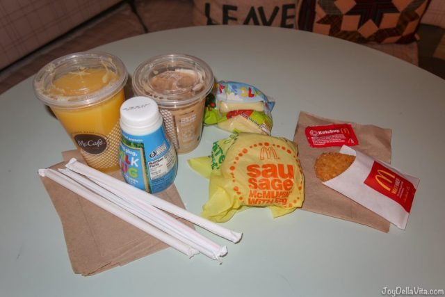 My McDonalds McDelivery Breakfast Order in Los Angeles - Orange Juice, Iced Coffee, Extra Milk, Apple Slices, Egg McMuffin, Hashbrown with Ketchup
