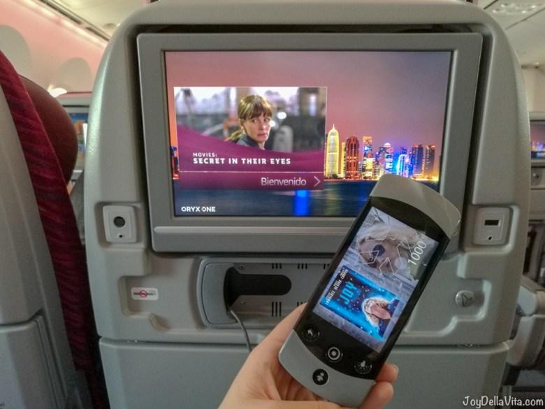 ORYX ONE Entertainment System Qatar Airways Boeing 787 Dreamliner Economy Class