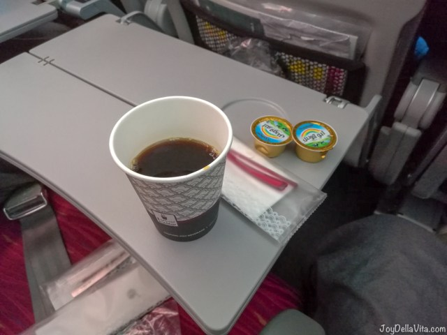 Qatar Airways Economy Class Coffee Service after hot meal
