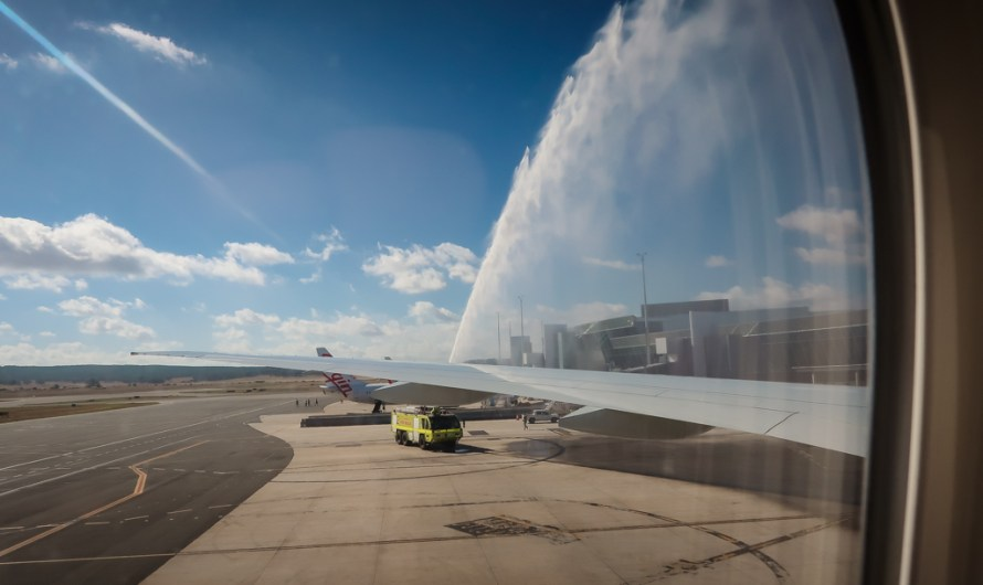 Water Canon Salute for the Inaugural Qatar Airways Flight to Canberra on February 12th 2018