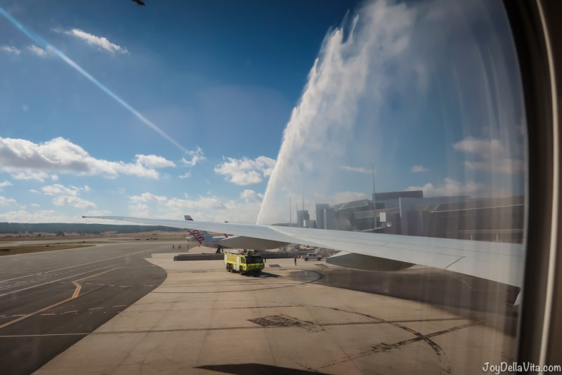 water cannon salute at Canberra Airport for Qatar Airways Flight QR906 after landing from Doha, Qatar
