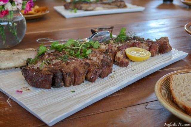fire-roasted dry-aged flatiron steak, fries, cafe-de-paris butter Pialligo Estate Canberra