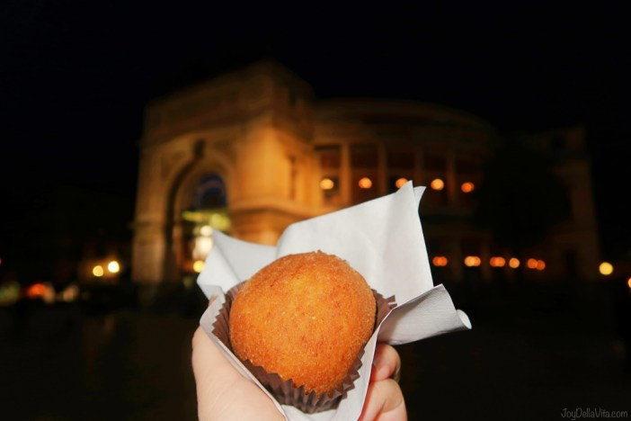 Arancini in Palermo - fried Rice Ball in front of Politeama Palermo