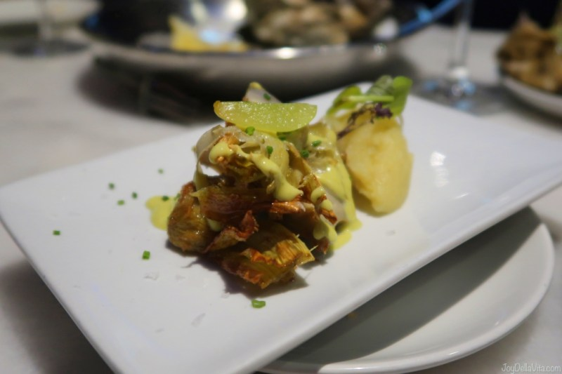 fried artichoke with potato mash KATA4 oyster bar Donostia San Sebastian