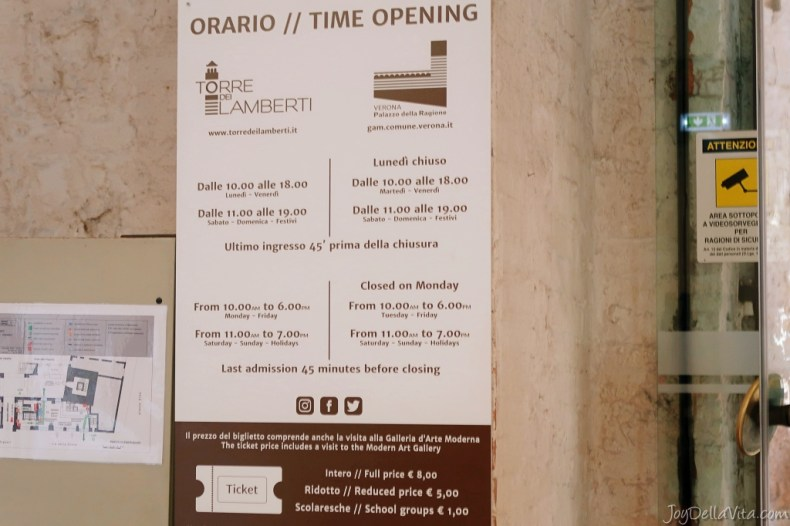 Opening hours and costs to visit Torre dei Lamberti Verona