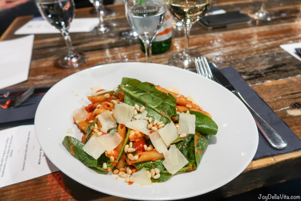 Penne with Spinach, sheeps cheese, chili, pine nuts, cherry tomatoes and parmesan cheese - Dinner Oosten Restaurant Frankfurt Main River