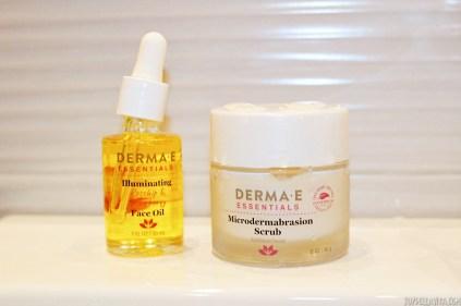 DERMA E lluminating face oil and Microdermabrasion Scrub