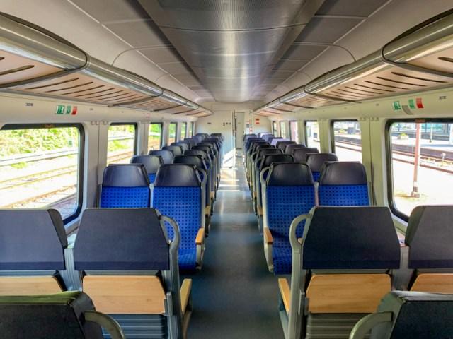 Inside DB Regio Bayern train, for the ride from Lindau to Augsburg