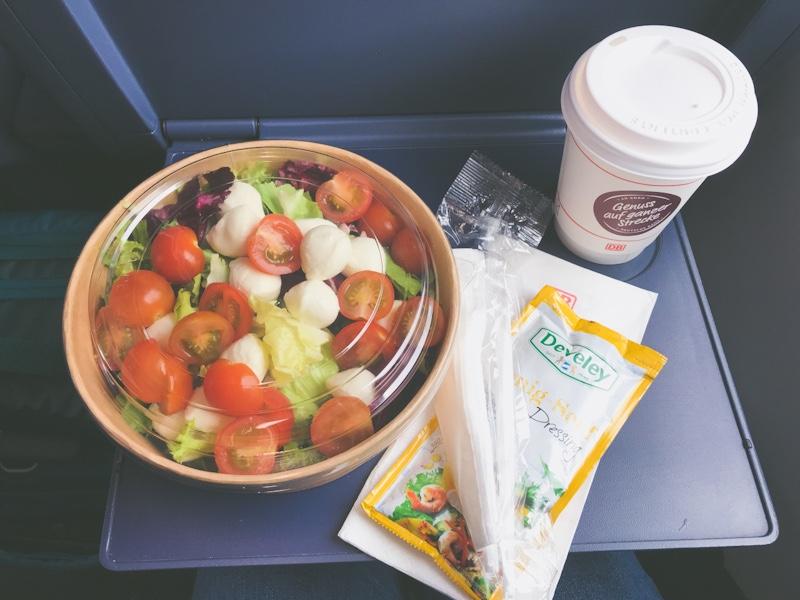 deutsche bahn ice restaruant menu dining car salad coffee blog joydellavita