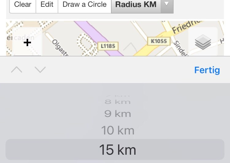 Website to calculate 15 km radius from your place of residence (measure to contain coronavirus in Germany)