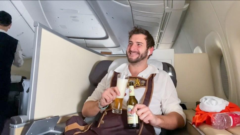 Lufthansa Lederhosen travel YouTuber James asquith