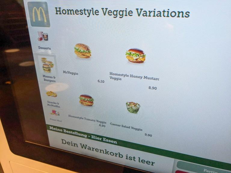 Current vegetarian options at McDonald's Switzerland