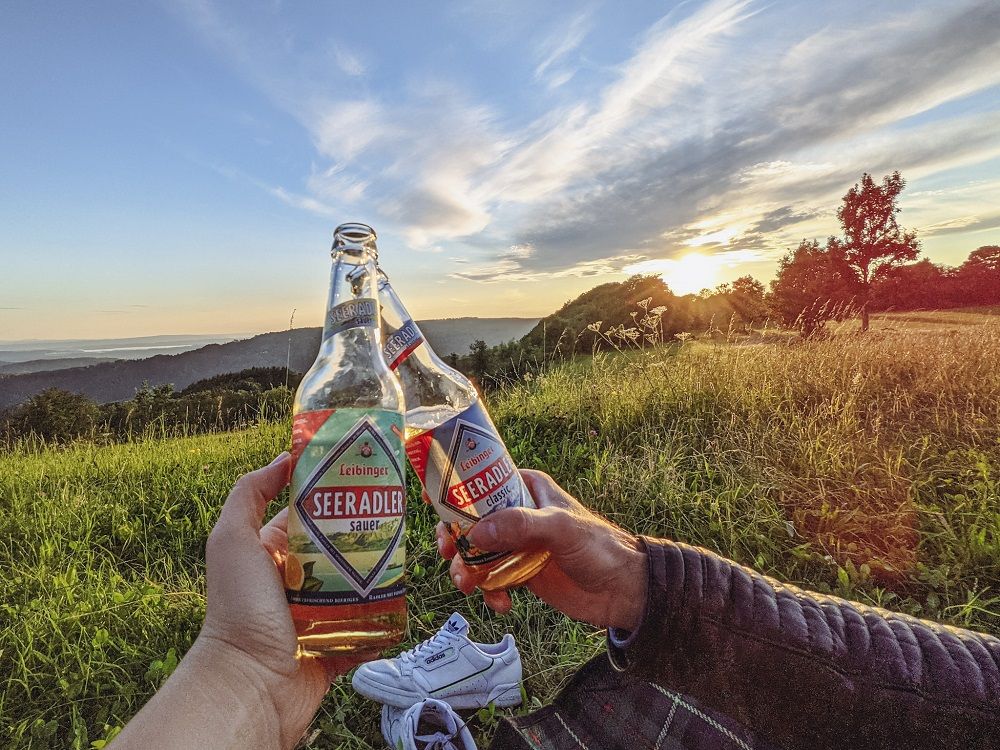 Radler Beer with a sunset view over Lake Constance