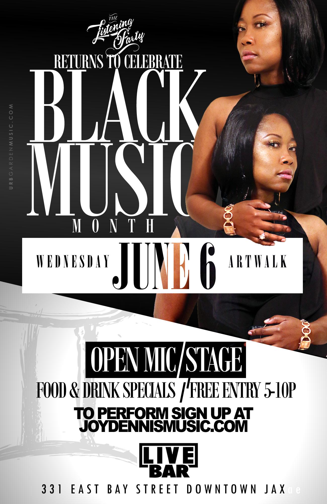 Black Music Month Celebration & Open Mic (June 6 – Artwalk)