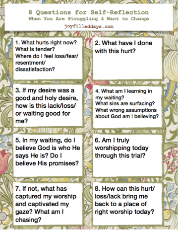 8 Questions for Self-Reflection (Printable) – Joy-Filled Days