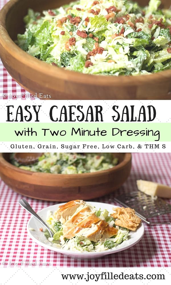 Caesar salad is one of my family's favorite easy sides or fast dinners. Our favorite dressing is ready in two min. It is low carb, gluten, sugar, & grain free & THM S.