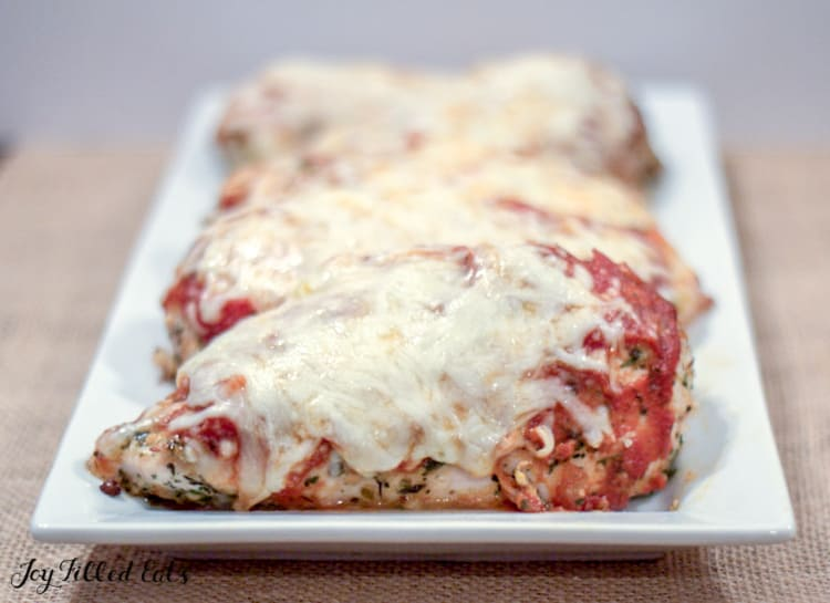keto chicken parmesan on a white serving platter