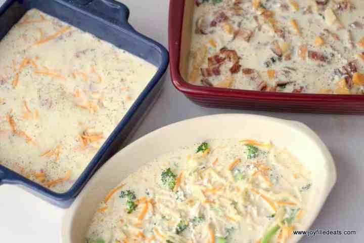 unbaked keto breakfast casserole in 3 casserole dishes