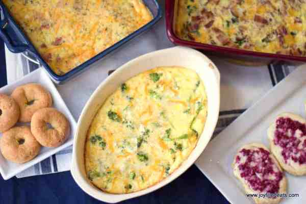 Overhead shot of 3 different egg bakes in casserole dishes