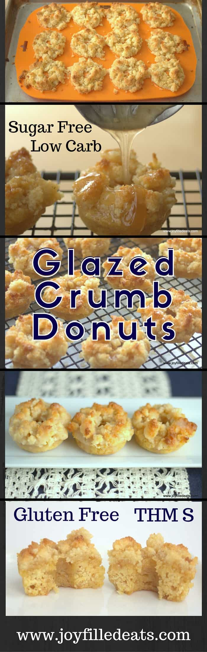 Glazed Crumb Donuts - a moist cakey donut topped with crumbs and covered with a sweet glaze. Low Carb, Sugar-Grain-Gluten Free, & THM S.