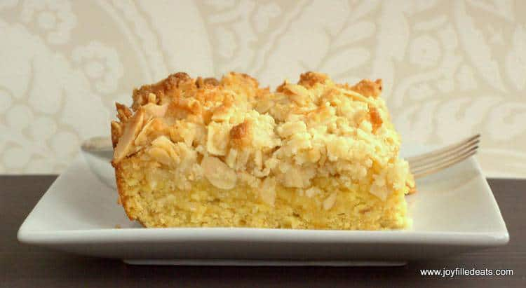 Almond Crumb Cake on a white plate