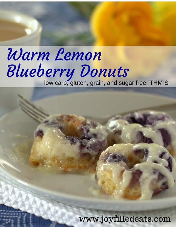 Warm Lemon Blueberry Donuts with Cream Cheese Glaze - low carb, gluten, grain, and sugar free, THM S