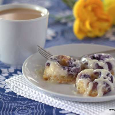Warm Lemon Blueberry Donuts with Cream Cheese Glaze