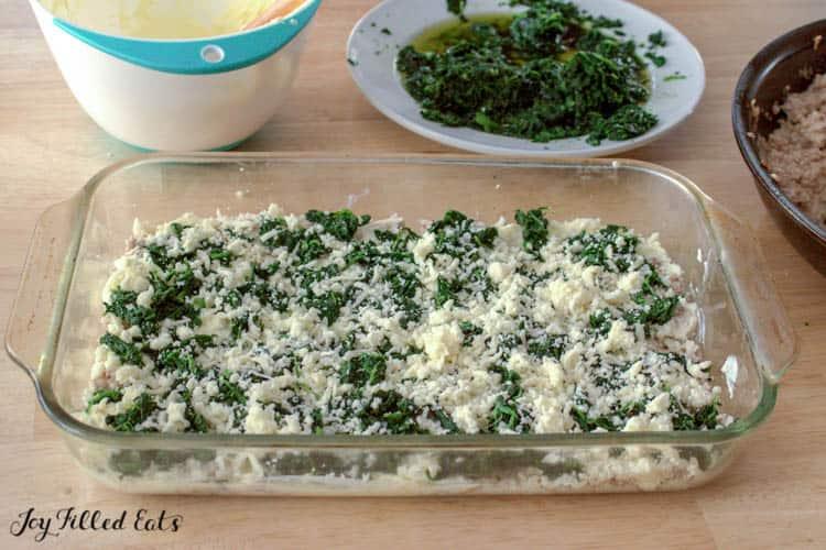 mozzarella cheese on the lasagna